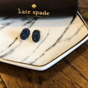 EUC Kate Spade Gold & Navy Sparkle Stud Earrings